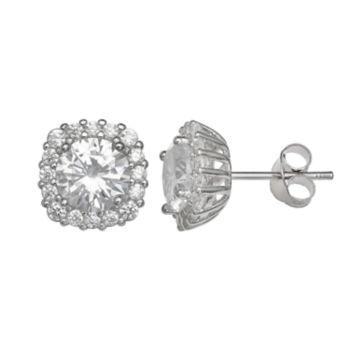 PRIMROSE Sterling Silver Cubic Zirconia Square Halo Stud Earrings