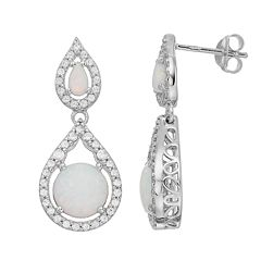 Sterling Silver Simulated Opal & Cubic Zirconia Double Teardrop Earrings