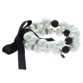 Simply Vera Vera Wang Simulated Pearl & Crystal Fireball Stretch Bracelet Set
