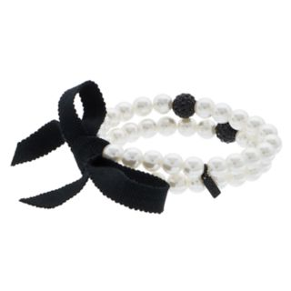 Simply Vera Vera Wang Simulated Pearl & Fireball Stretch Bracelet Set