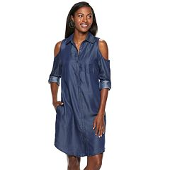 Women's Hope & Harlow Cold-Shoulder Shirt Dress