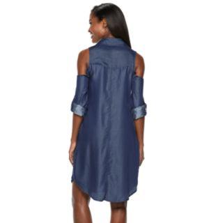 Women's Hope & Harlow Cold-Shoulder Shirt Dress