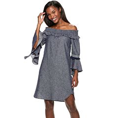 Women's Hope & Harlow Off-The-Shoulder Chambray Dress