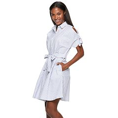 Women's Hope & Harlow Cold-Shoulder Stripe Shirt Dress