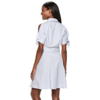 Women's Hope & Harlow Cold-Shoulder Stripe Shirt Dress