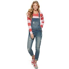 Juniors' Almost Famous Mid-Rise Destructed Overalls