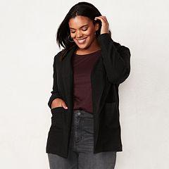 Plus Size LC Lauren Conrad Cozy Open-Front Knit Blazer