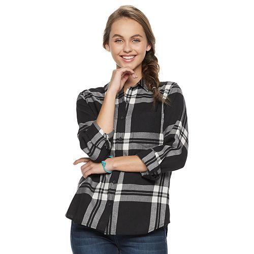 Juniors' SO® Button-Front Shirt