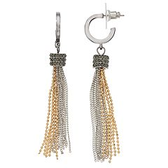 Simply Vera Vera Wang Two Tone Chain Tassel Drop Earrings