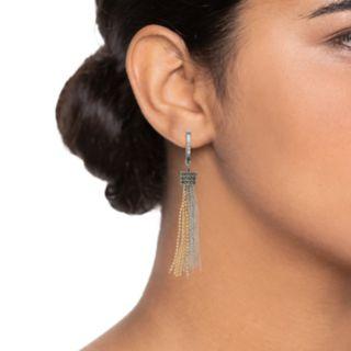 Simply Vera Vera Wang Two Tone Chain Tassel Drop Earrings