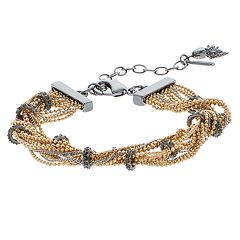 Simply Vera Vera Wang Tri Tone Multi Strand Simulated Crystal Chain Bracelet