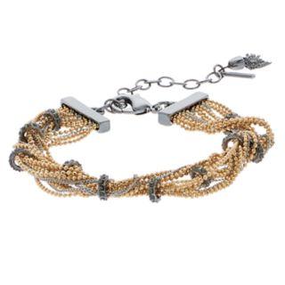 Simply Vera Vera Wang Tri Tone Multi Strand Simulated Crystal Chain Bracelet