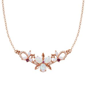 14k Rose Gold Over Silver Lab-Created Opal & Genuine Morganite Flower Necklace