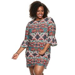 Plus Size Suite 7 Print Ruffle Dress