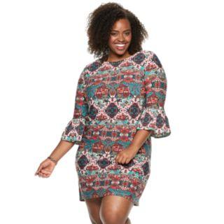 Plus Size Suite 7 Print Ruffle Dress