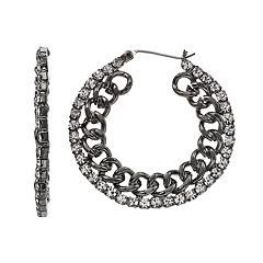 Simply Vera Vera Wang Simulated Crystal Chain Hoop Earrings