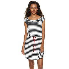 Women's Nina Leonard Striped Cowlneck Dress