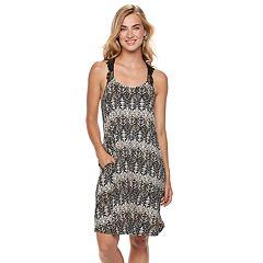 Women's Nina Leonard Print Crochet-Yoke Dress