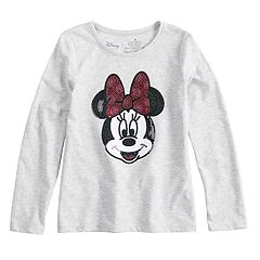 'Disney's Minnie Mouse Girls 4-10 Long-Sleeve Sequined Graphic Tee by Jumping Beans®