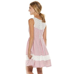 Women's Nina Leonard Striped Lace-Trim Fit & Flare Dress