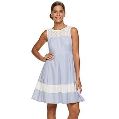 Women's Nina Leonard Striped Lace-Trim Fit & Flare Dress