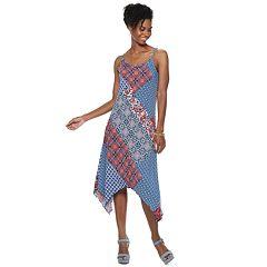 Women's Nina Leonard Patchwork Handkerchief-Hem Midi Dress