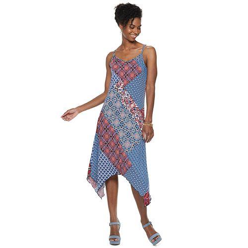 7a256d4b Women's Nina Leonard Patchwork Handkerchief-Hem Midi Dress