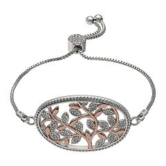 Brilliance Two Tone Adjustable Vine Bracelet with Swarovski Crystals