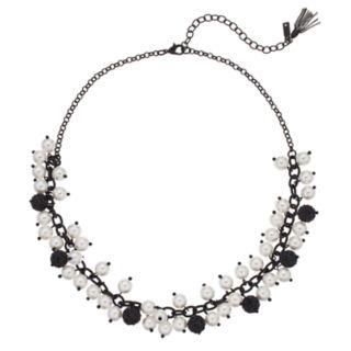 Simply Vera Vera Wang Simulated Pearl & Black Fireball Collar Necklace
