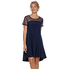 Women's Nina Leonard Swiss-Dot Swing Dress