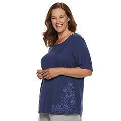 Plus Size Gloria Vanderbilt Crewneck Pajama Tee