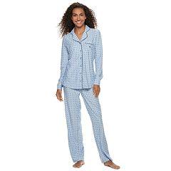 Women's Gloria Vanderbilt Notch Collar Shirt & Pants Pajama Set