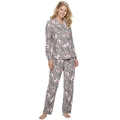 Women's Gloria Vanderbilt Notch Collar Shirt & Pants Pajama Set