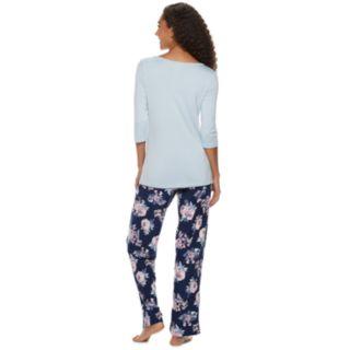 Women's Gloria Vanderbilt Lace Tee & Pants Pajama Set