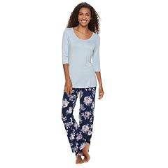 Women's Gloria Vanderbilt Lace Tee & Pants Pajama Set