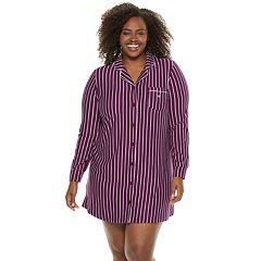 Plus Size Gloria Vanderbilt Notch Collar Sleepshirt