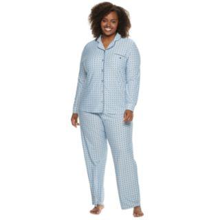 Plus Size Gloria Vanderbilt Notch Collar Shirt & Pants Pajama Set