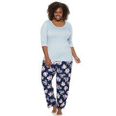 Plus Size Gloria Vanderbilt Lace Tee & Pants Pajama Set