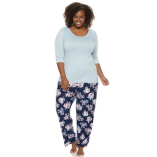 Plus Size Gloria Vanderbilt Lace Tee & Pants Pajama Set
