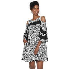 Women's Nina Leonard Print Cold-Shoulder Swing Dress