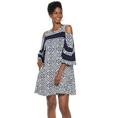 Women's Nina Leonard Print Cold-Shoulder Swing Dress