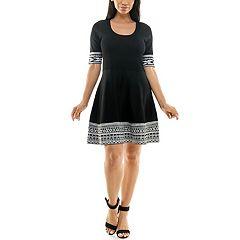 Women's Nina Leonard Print Fit & Flare Sweater Dress