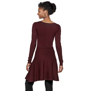 Women's Nina Leonard Lace-Up A-Line Sweater Dress