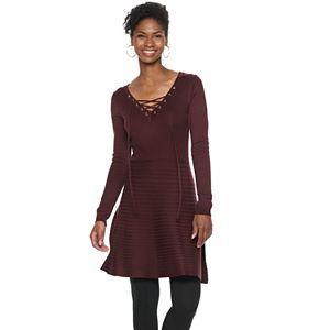 Women's Nina Leonard Lace-Up A-Line Sweater Dress