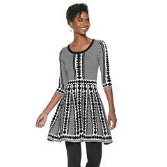 Women's Nina Leonard Geometric Fit & Flare Sweater Dress