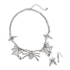 Spider Pendant Necklace & Drop Earring Set