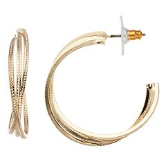 Dana Buchman Gold Tone Textured Crisscross Hoop Earrings