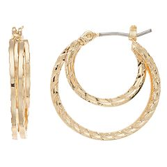 Dana Buchman Gold Tone Textured Double Hoop Earrings