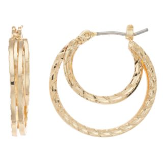 Dana Buchman Gold Tone Textured Double Hoop Earrings
