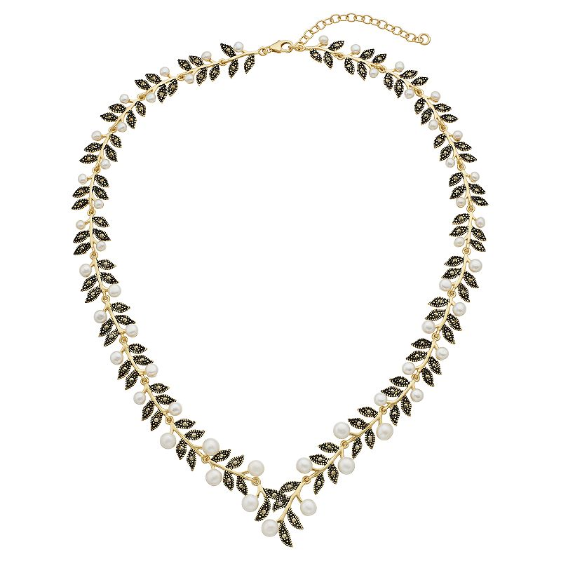 "Le Vieux 18k Gold Over Silver Freshwater Cultured Pearl & Marcasite Leaf Necklace, Women's, Size: 17"", White"